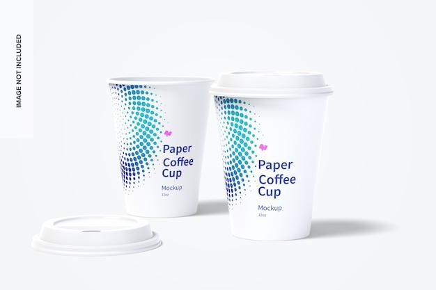 Мокап бумажных кофейных чашек на 12 унций 03 Premium Psd