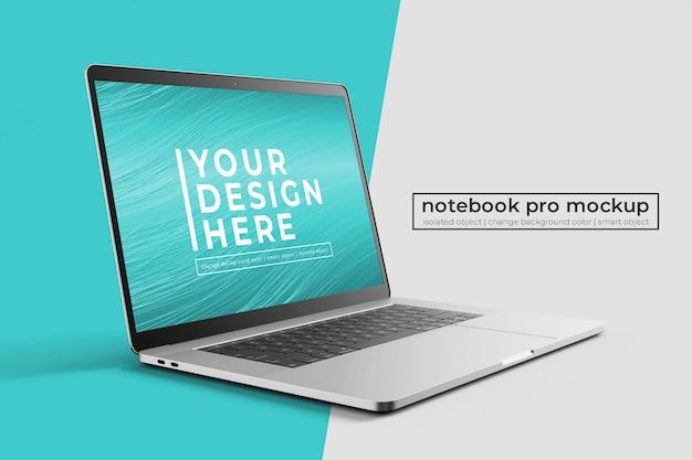 Сменные премиум-легкие 15-дюймовые ноутбуки pro в макете спереди слева с фоном Premium Psd