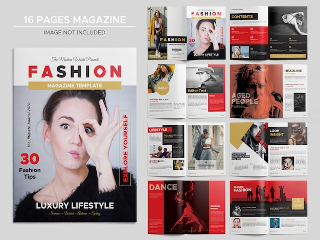 16 pages fashion magazine template Premium Psd