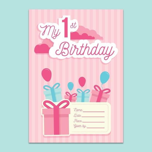 1-й день рождения пригласительный макет Бесплатные Psd