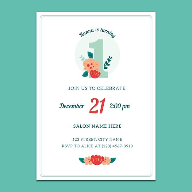 1st birthday invitation mockup Free Psd