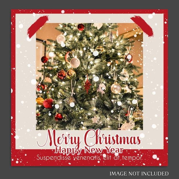 Рождество и новый год 2019 фото макет и шаблон шаблона instagram Premium Psd