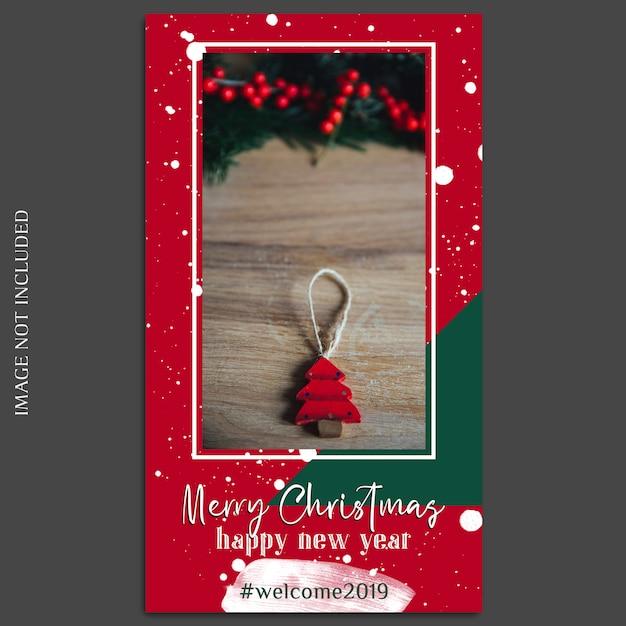 Рождество и новый год 2019 фото макет и шаблон истории instagram Premium Psd
