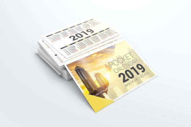 2019 pocket calendar mockup Premium Psd