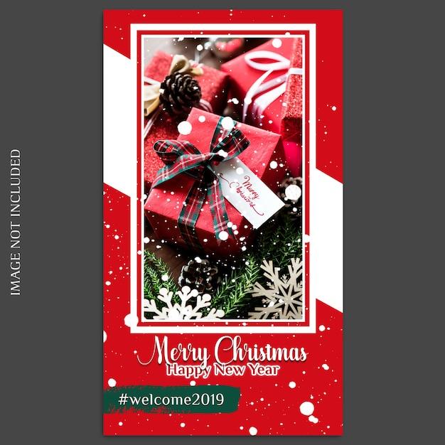 Рождество и новый год 2019 фото макет и шаблон шаблона для социальных сетей Premium Psd