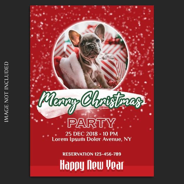 С рождеством и новым годом 2019 фотомодель и пригласительный билет или шаблон флаера Premium Psd