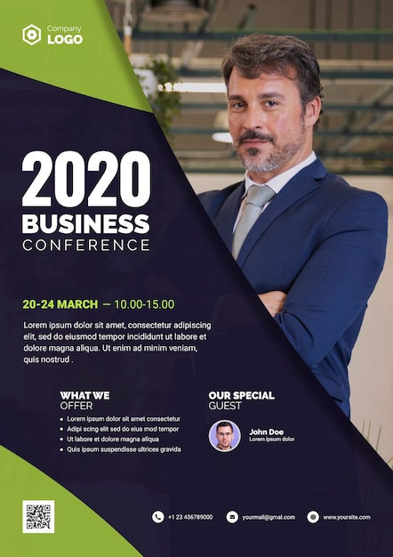 2020 business conference with special guest Free Psd