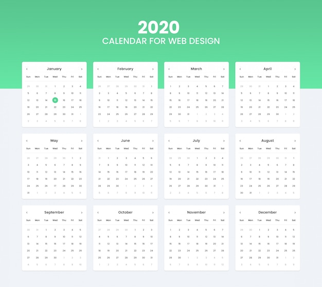 2020 calendar ui kit for website ui design Premium Psd