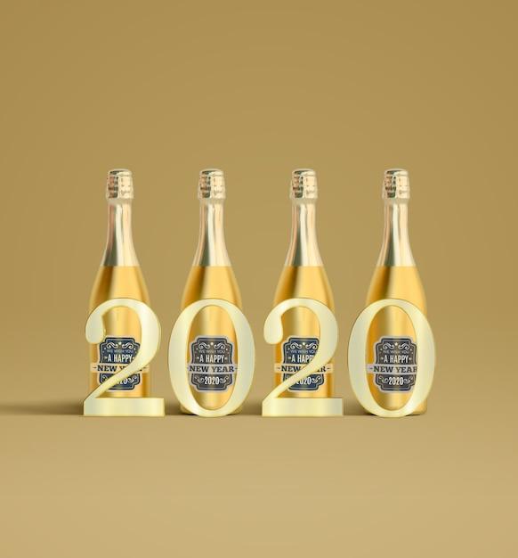 2020 sul set di champagne Psd Gratuite