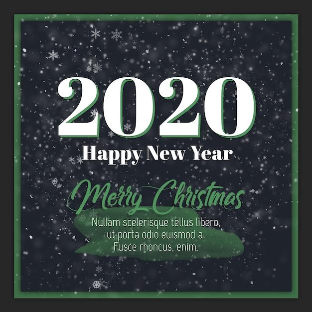Открытка с новым годом и рождеством 2020 Premium Psd