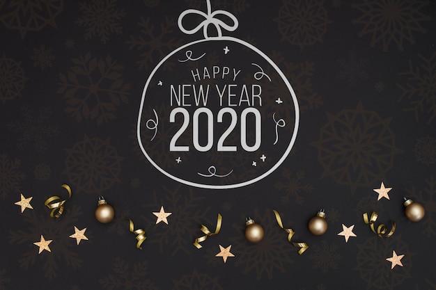 Белый шар каракули рождественский бал с текстом нового года 2020 Бесплатные Psd