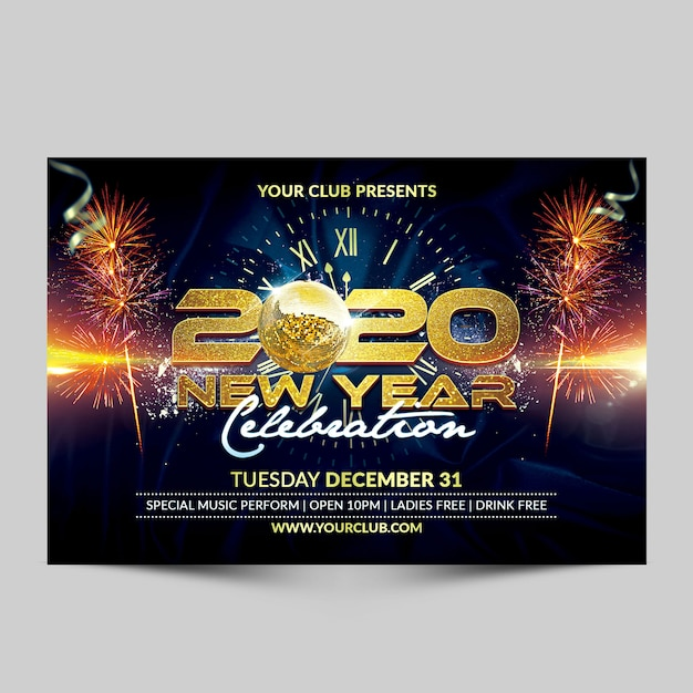 2020年の新年のお祝いパーティーのフライヤー Premium Psd