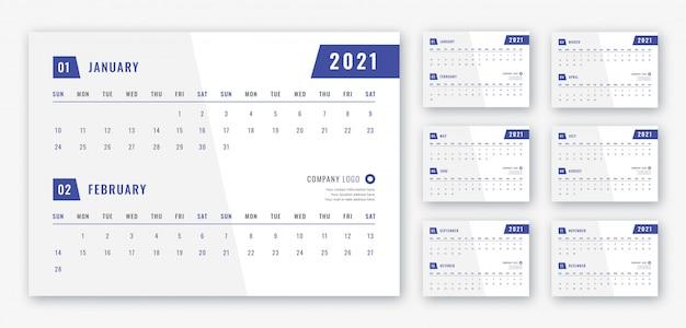 2021 desk calendar template Premium Psd