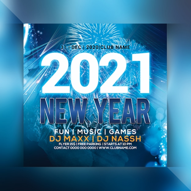 2021 new year party flyer Premium Psd