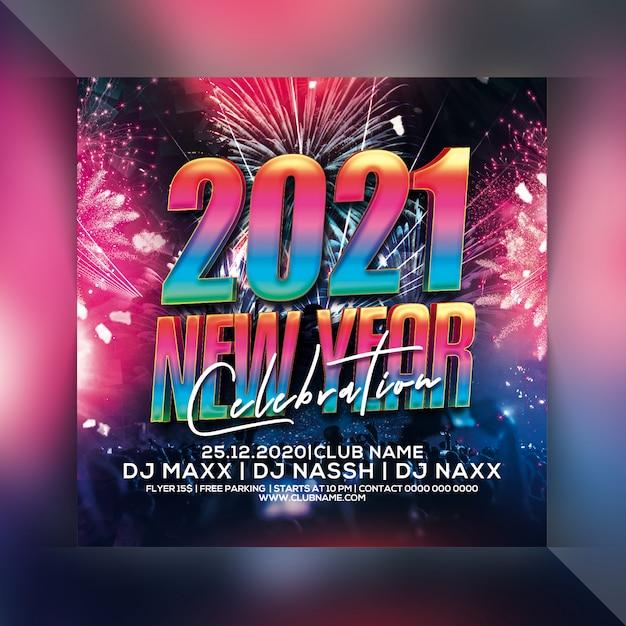 2021 новый год флаер Premium Psd