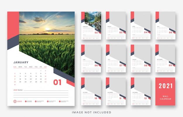 Premium PSD | 2021 wall calendar print ready template design