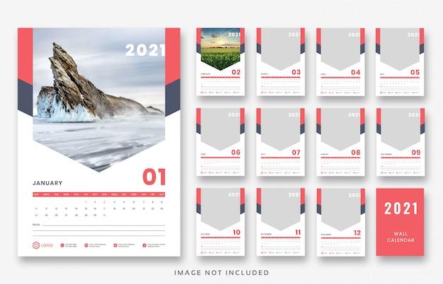 Premium PSD | 2021 wall calendar template design