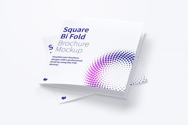 正方形の2つ折りパンフレットのモックアップ Premium Psd