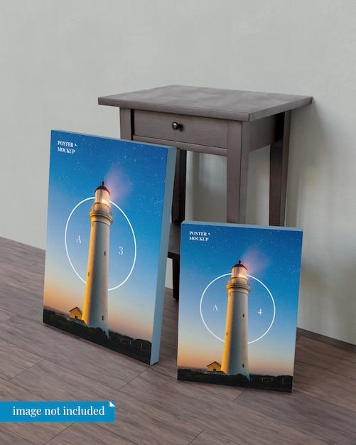 ベッドサイドテーブルと2つのポスターのモックアップ Premium Psd