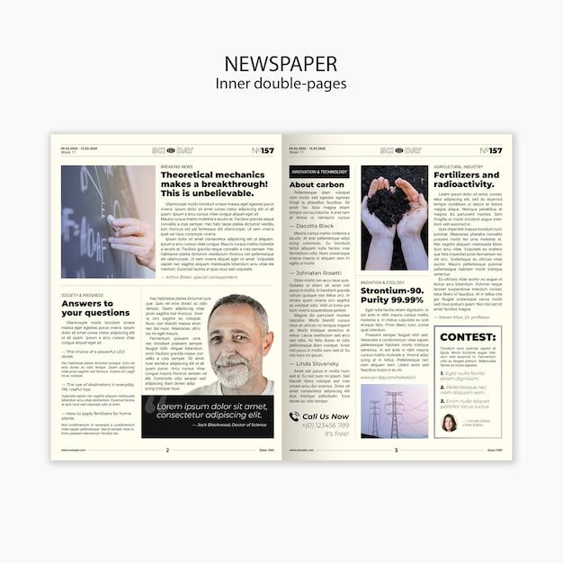 新聞の科学記事の内部の2ページのテンプレート 無料 Psd
