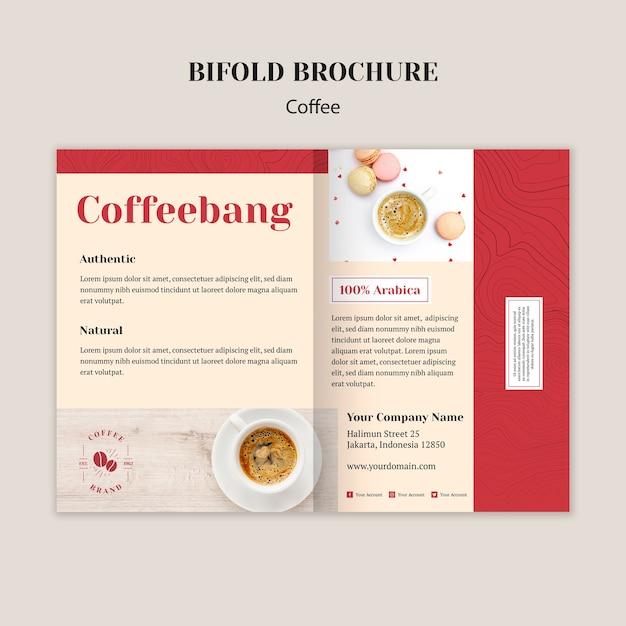 クリエイティブコーヒーショップ2つ折りパンフレットテンプレート 無料 Psd