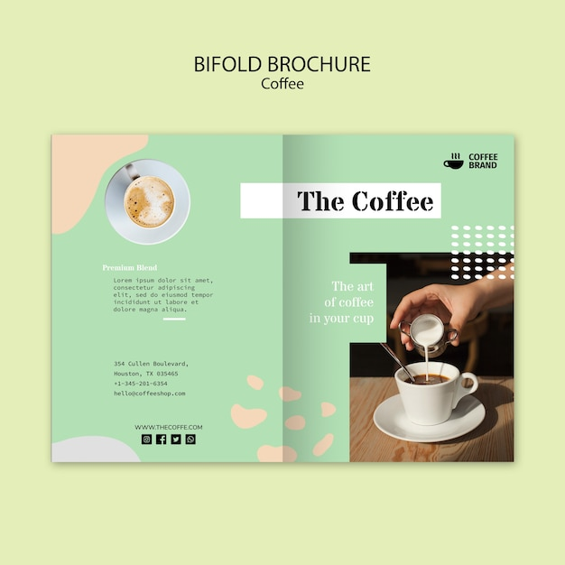 コーヒー2つ折りパンフレットテンプレート 無料 Psd