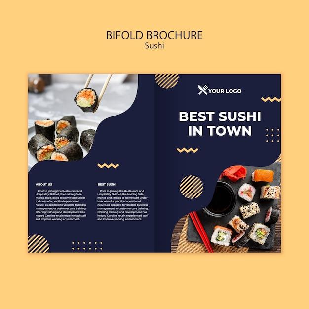 寿司コンセプト2つ折りパンフレットテンプレート 無料 Psd