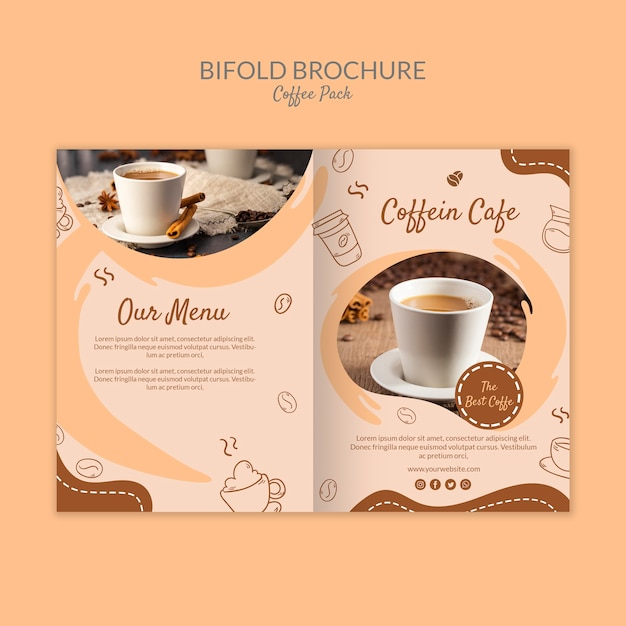 おいしいコーヒー2つ折りパンフレットコーヒーテンプレート 無料 Psd