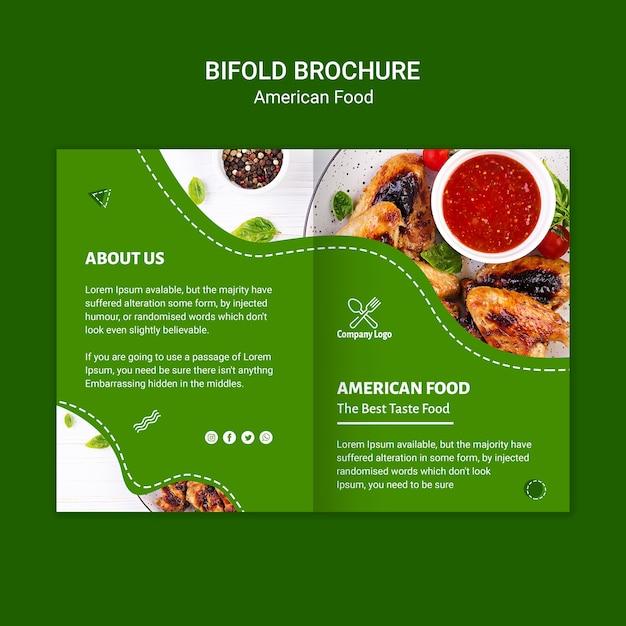 アメリカ料理2つ折りパンフレット 無料 Psd