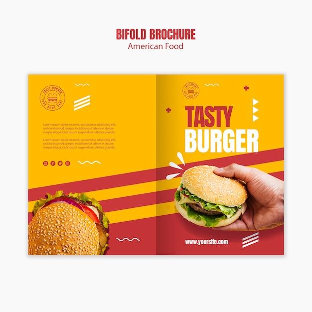 ハンバーガーアメリカンフード2つ折りパンフレットのテンプレート 無料 Psd