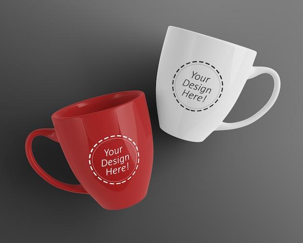 編集可能な2つのカフェ・カップのデザイン・テンプレートをモックアップ Premium Psd