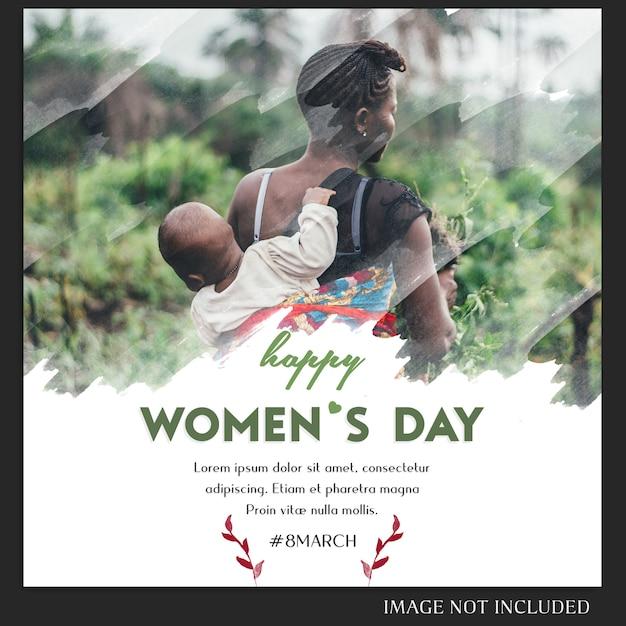 幸せな女性の日と3月8日挨拶instagramのポストテンプレート Premium Psd
