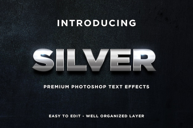 3 dシルバーの光沢のあるテキスト効果モックアッププレミアムpsd Premium Psd