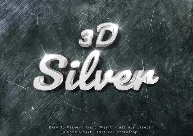 3 dシルバーモックアップテキスト効果 Premium Psd