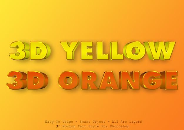 3 dの黄色とオレンジ色のテキスト効果 Premium Psd