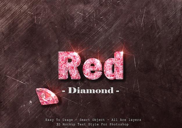 3 d赤いダイヤモンドテキストスタイルの効果 Premium Psd
