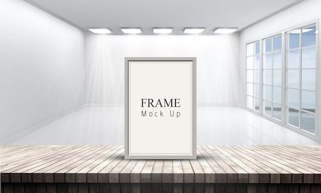 白い空の部屋を見渡す木製のテーブルの3 d額縁 無料 Psd