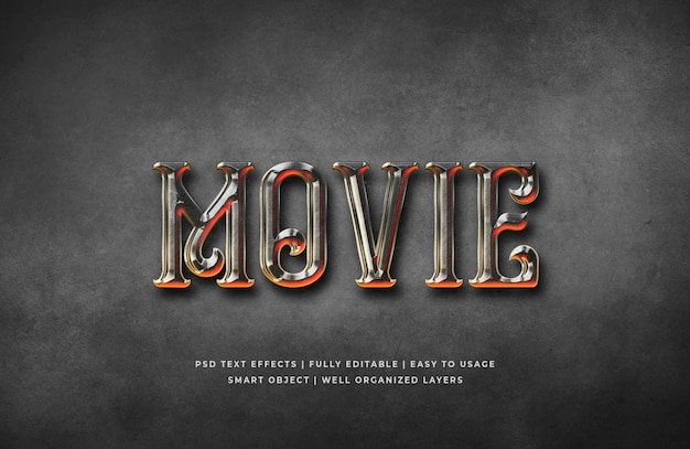 映画ゴシック3 dテキストスタイル効果テンプレート Premium Psd