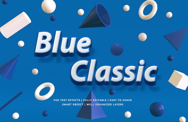 古典的な青い3 dテキストスタイル効果モックアップ Premium Psd