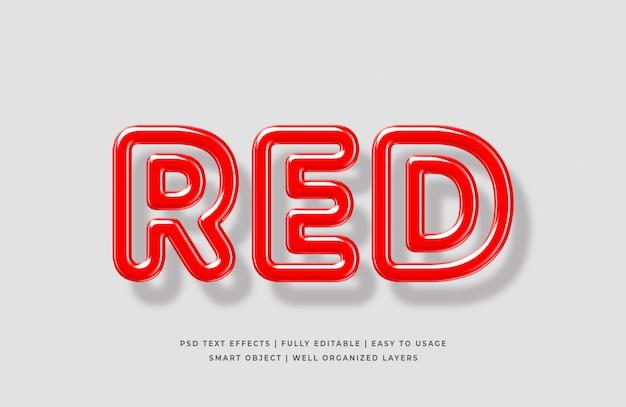 赤の3 dテキストスタイル効果モックアップ Premium Psd
