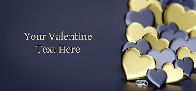 バレンタインデーの背景にハート-3 dレンダリング Premium Psd