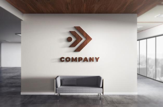 リアルな3 dロゴ木製モックアップオフィスの壁のテクスチャ Premium Psd