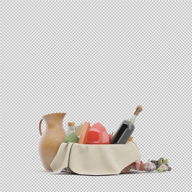 食べ物3 dレンダリング付きピクニックバスケット Premium Psd