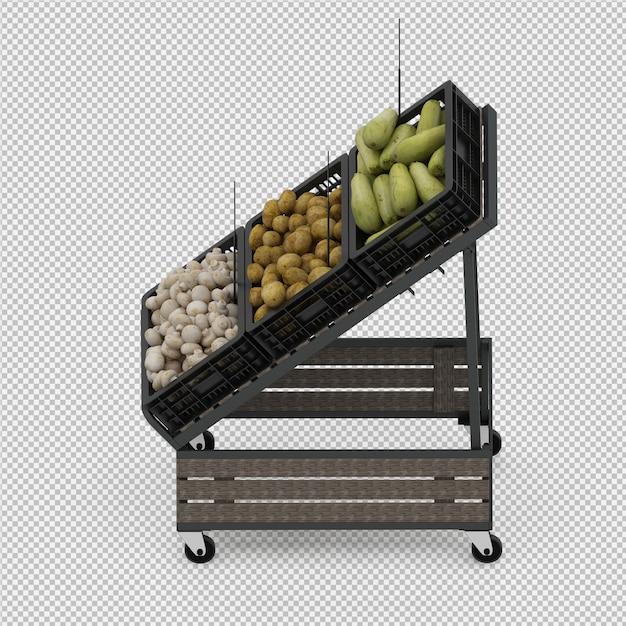 等尺性野菜スタンド市場3 dレンダリング Premium Psd