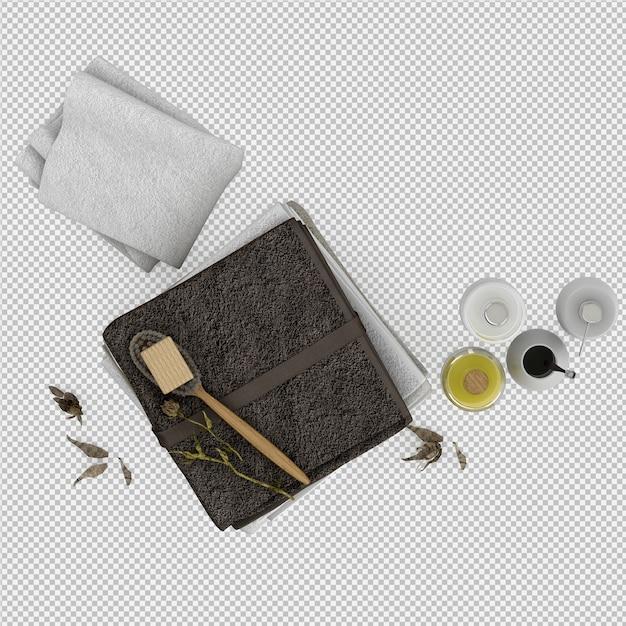 バスルームアクセサリーと折り畳まれたタオル3 d分離レンダリング Premium Psd