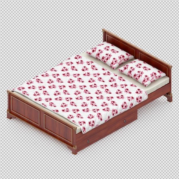 等尺性ベッド3 dレンダリング Premium Psd