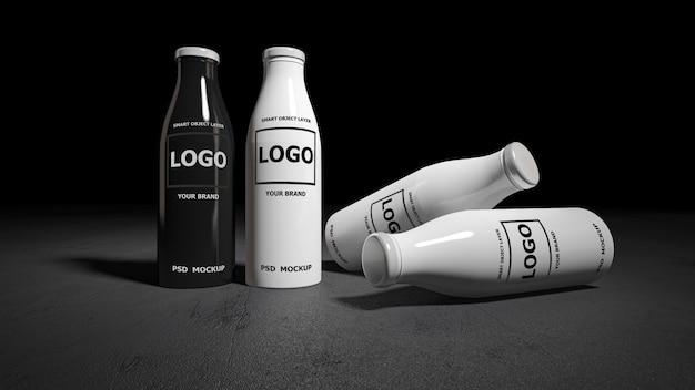 白と黒のボトルの3 dレンダリングのモックアップ画像。 Premium Psd