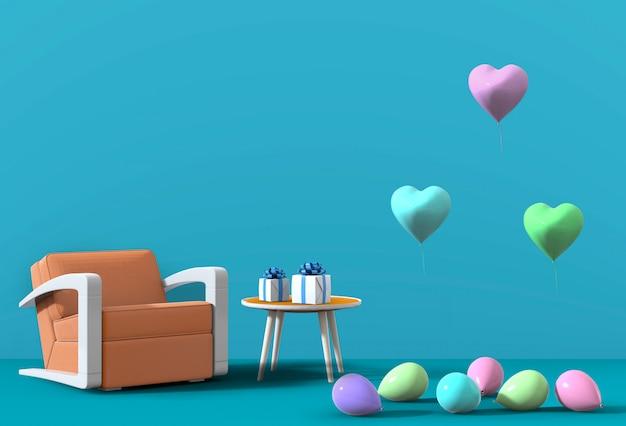 肘掛け椅子、風船と青いスタジオの3 dレンダリング。 Premium Psd
