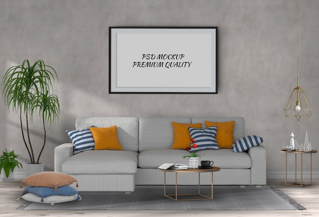 インテリアのリビングルームとソファ、3 dのレンダリングでポスターフレームをモックアップします。 Premium Psd