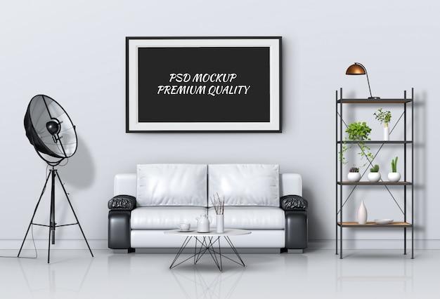 インテリアリビングルームとソファ、3 dレンダリングのポスターフレームのモックアップします。 Premium Psd